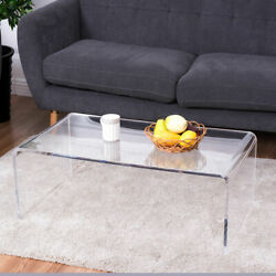 Clear Acrylic Coffee Table Cocktail Waterfall Table 37 x 21 x 14 Inch Home Decor