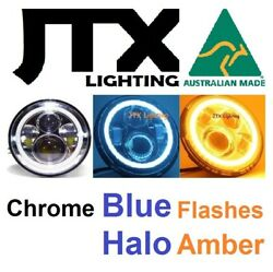 1pr 7 Chrome Headlights Blue Flashes Amber Fit Land Rover Defender 90 110 130