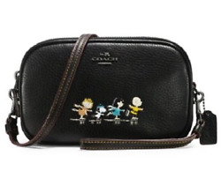 NWT Coach X Peanuts Snoopy Pebble Leather Crossbody Clutch Bag BLACK Limited Ed