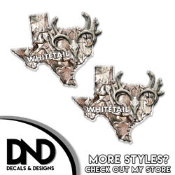 Texas State Hunting Decal Whitetail Deer Skull Snow Buck Camo Sticker Tx 2 Pack