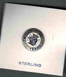 Vintage Knights Of Columbus 25 Year Service Lapel Pin, Sterling Silver