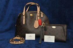 COACH PEYTON SIGNATURE CORA DOMED SATCHEL and WRISTLET WALLET