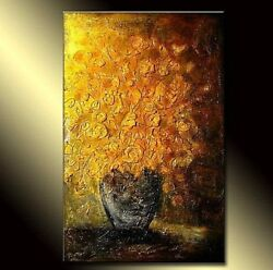 Abstract Art Contemporary Colorful Flowers Bouquet In Vase Thick Textured Art Hp