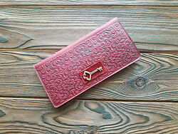 Fine Leather Women Slim Wallet Floral Embossed Pattern Zippered Coin Pocket