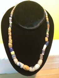 2 Vintage Pop Glass And Stone Beaded Necklaces Native American Style