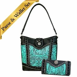 TR59-916 Trinity Ranch Tooled Leather Collection Hobo Bag & Wallet Set (2 pc.)