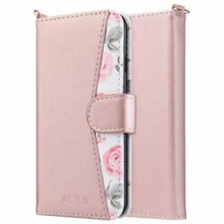 For iPhone 6s Wallet Case Floral Card Holder And Kickstand Hand Strap Rose Gold