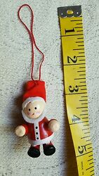 Vintage Wooden Santa Toy Christmas Tree Decoration • Pre-owned • Nice Condition