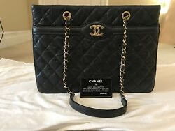 Authentic Chanel Large shopping Tote Black Bag 16C 94305 30 CM
