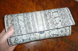 NWT Michael KORS Collection YASMEEN Large SNAKESKIN Cement CLUTCH Crossbody $850