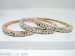 Diamond Wedding And Anniversary Stackable 3 Bands 14k Multi Tone Gold Handmade
