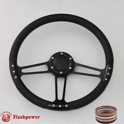 14and039and039 Billet Steering Wheels Black Color Street Rod Comet Cyclone Marquis W/ Horn