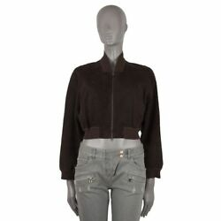 52417 Auth Hermes Brown Suede Leather Cropped Bomber Jacket 42 L