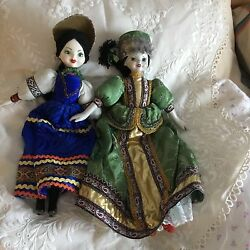 Vintage Russian Glazed Porcelain 2 Dolls In Ethnic Costume 17 '' Free Shipping
