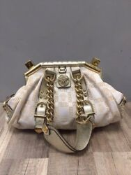 VERSACE Small Madonna Boston Bag  White and Gold