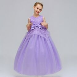 Kids Flower Girl Bow Princess Dress for Girls Party Wedding Bridesmaid Gown k21