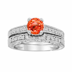 Orange Sapphire And Diamonds Engagement Ring And Wedding Band Sets 14k White Gold