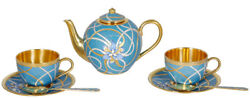 Russian silver 925 & 24k Gold Plated Teapot & 2 Teacups Enamel Filigree
