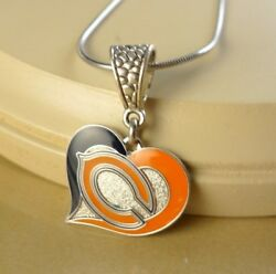 Nfl Chicago Bears Heart Pendant Aminco W/steel Necklace Sports Gift Jewelry