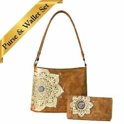 TR58-918 Trinity Ranch Tooled Leather Mandala Floral Hobo Style Bag