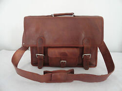 Men's Leather Office Briefcase Satchel Messenger Bag Fits up to 17 Inch Laptop