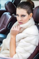 Brand New Horizontal Real Mink Jacket In Blackglama Pearl Beige And Colors