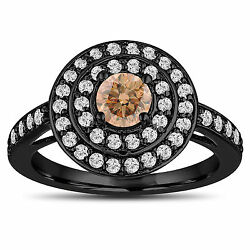 Fancy Champagne Diamond Engagement Ring 14k Black Gold Vintage Style Double Halo