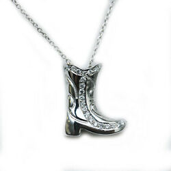 Roberto Coin New 18k White Gold Diamond Cowboy Boot Pendant Necklace