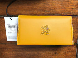 NEW DISNEY x COACH FLAX~YELLOW2016~Leather Phone Case Wallet Mickey Mouse~66440