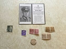 Silver 2 Mark 1937 Mint A Ww2 German Soldier Death Card 8 Hitler Stamps Lot