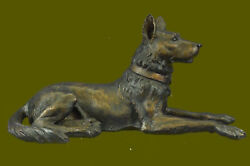 German Sheperd Hand Painted Figurine 100 Real Bronze Statue Collectible Puppy