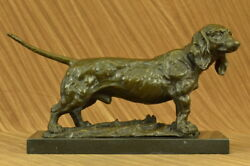 Basset Hound Dog Figure Deco Marble Base Bronze Sculpture Statue Art Figurine
