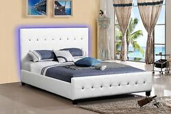 White Leather Look Tufted Led Platform Bed Frame Modern Home All Sizes