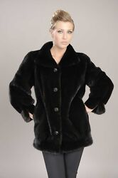 Brand New Mink Jacket With Decorative Buttons And Sleeve Slits Blackglama Nafa