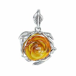 Sterling Silver and Baltic Amber Pendant quot;Rosequot; $38.51