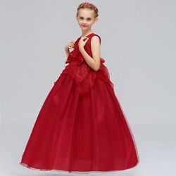 Kids Flower Girl Bow Princess Dress for Girls Party Wedding Bridesmaid Gown K106