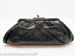 Auth CHANEL Black Pleated Lambskin Monte Carlo Clutch Bag Silver Clasp on Top