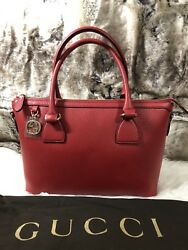 NWT Authentic GUCCI GG Pebbled Leather Satchel Bag Crossbody Purse In Red