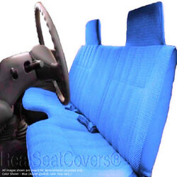Triple Stitched Thick Blue Bench Seat Cover Large Notched Cushion Custom Fit