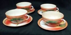 4 Trico Cup and Saucers Hand Painted Cabin on Lake c 1913-1921 Made In Japan