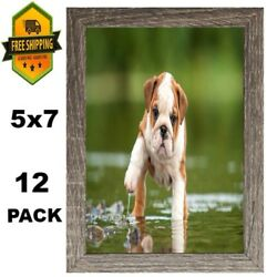 12pc 5x7 Linear Picture Rustic Frame Set Lot Photo Family Home Wall Office Decor
