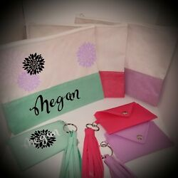 Personalized Makeup Bag and coin purse key chain set