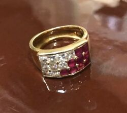 Womens Ring Size 5.5 Yellow Gold. 4.5 Dwt 7g. Diamonds And Ruby. Custom Made.