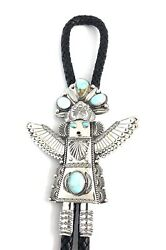 Native American Sterling Silver Navajo Royston Turquoise Eagle Katchina Polo