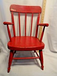 Antique Red Kids Chair Childs Doll Teddy Bear Furniture Primitive Rustic Patina