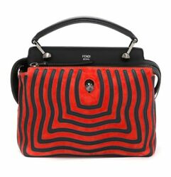 Fendi Dotcom Click Striped Leather Hypnotic Chain Crossbody Satchel MSRP $3450