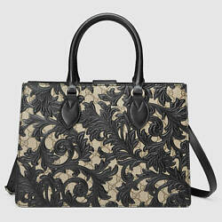Gucci Women's Arabesque Canvas and Leather Top Handle Bag Black MSRP $2990