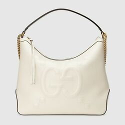 Gucci Women's Original Large Leather Embossed GG Hobo Bag White MSRP $2490