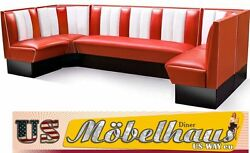 Hw-300 American Furniture Diner Bench Corner Seat Diner Retro Usa Style Catering