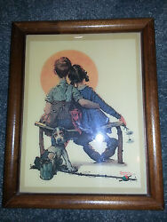 Norman Rockwell Ceramic Framed Print The Little Spooner Collectible Vintage Love